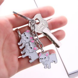 $enCountryForm.capitalKeyWord Australia - New Pet Bulldog Charms Keychain Dog Tag Key Keychains Woman Car Key Ring Wholesale Metal Key Chain Pendants Keychains Men GiftSH190724