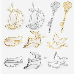$enCountryForm.capitalKeyWord Australia - Hair Clips Vintage Fashion Women Gold Silver Plated Alloy Hollow Out Animals Moon Key Style Barrettes Hair Jewelry