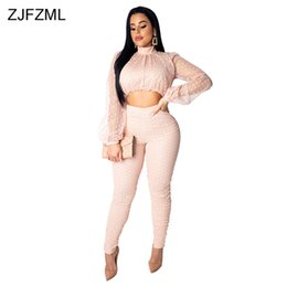 Discount women sexy see through pants suit - Sexy 2 Piece Outfits For Women Mesh See Through Full Sleeve Short Tops + Fitness Pants Vintage Two Piece Club Sets Sweat