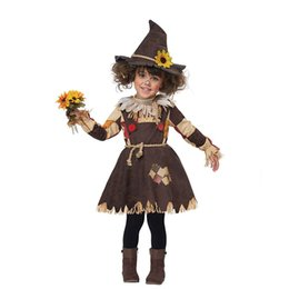Stage Show Costumes UK - Kids Girls Christmas Party Halloween Scarecrow Costume Witch skirt Cosplay Costume Children Stage Show Performance Dress