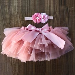 Hot Girls Diapers Australia - 2019 hot sale Baby girl tutu skirt 2pcs tulle lace bloomers diaper cover Newborn infant outfits Mauv headband flower set mesh