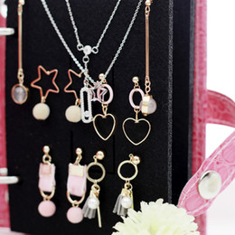 displays case for rings Canada - PU Stud Earrings Collection Book Box Portable Ear Jewelry Storage Case Organizer Holder Rings Necklace Display Stand for Women