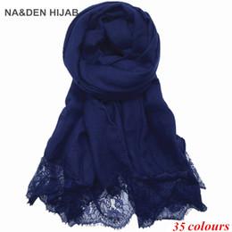 Cotton Viscose Scarves Australia - 2019 Hot sale new ladies Lace edges hijabs Scarves Women Plain solid Cotton viscose Head Scarf oversize muffler shawl 1pcs lot