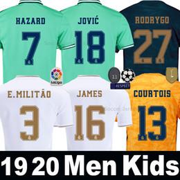 China HAZARD JOVIC soccer jersey 19 20 Real Madrid MILITAO camiseta de fútbol third green 2019 2020 VINICIUS ASENSIO Men Kids kit football shirt cheap quick kits suppliers