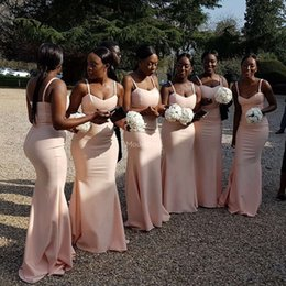 StyleS gownS online shopping - New Arrival Arabric Mermaid Long Bridesmaid Spaghetti Sweep Train Country Style Cheap Wedding Guest Gown Black Girl Chic Maid Of Honor Dress