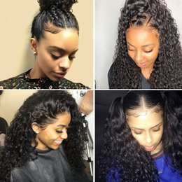 Afro Kinky Hair Shipping Australia - Afro Kinky Curly Full LaceWig Brazilian human hair Lace Front Wig Natural Black Color Hair Free Shipping Hair Wigs Wholesale 4 Tran