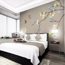 $enCountryForm.capitalKeyWord Australia - 3D hand-painted Chinese stereo flower and bird magnolia custom mural living room sofa bedroom wall covering wallpaper
