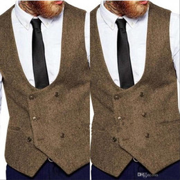 мужчины свадебный наряд оптовых-2020 Brown Groom Жилеты Страна Wedding Wool елочки Твид жилет Slim Fit мужского жилет для костюма платья Жилет Farm Шафер наряда
