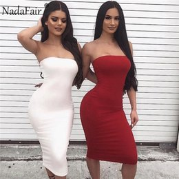 Red Strapless Shirts Australia - Nadafair Strapless Sexy Bodycon Club Party Women Summer Backless Midi Pencil Female Slim Solid Long Dress Red White Q190511