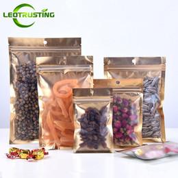 Clear Foil Ziplock Bags Australia - Leotrusting 200pcs lot Flat Bottom Clear Front Gold Foil Ziplock Bag Resealable Plastic Zipper Bag Kitchen&Office Supplies Storage Bags