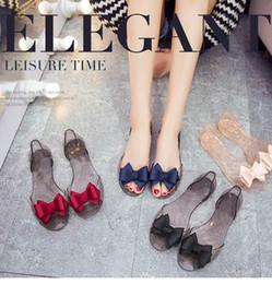 $enCountryForm.capitalKeyWord NZ - Women Fashion Designer Jelly Color Sandals Shoes Luxury Summer Fashion Bowknot Fish Head Wrapped Heel Design Sandals size 35-40