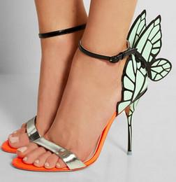 $enCountryForm.capitalKeyWord Australia - Hot Sale- super stars dress sandals angel wings high heels gladiator strap shoes open toe stiletto heels party pumps women shoes