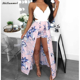 Wholesale women s jumpsuits evening resale online – 2019 Summer Beach Rompers Women Casual Jumpsuit Ladies Spaghetti Strap Backless Floral Party Playsuit Evening Party Jumpsuit