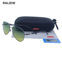 3504c4f7cc RALIZHE Brand Designer Mens Driving Day Night Vision Sunglasses Goggles  Fashion Polarized Aviation Luxury Sun Glasses Yellow UV400 HD TAC