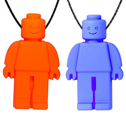 Discount sensory baby toys - Mini Robot Pendant Teething Necklace Chew Dude Sensory Toy Food Grade Silicone Baby Teethers for Kids Special Needs Chew