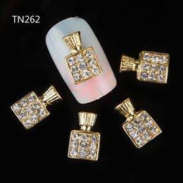 $enCountryForm.capitalKeyWord Australia - 50pc Golden Perfume Bottle Rhinestones flower 3d Nail Art Decorations,Alloy Nail Sticker Charms Jewelry for Polish TN262