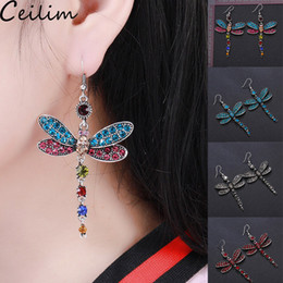 $enCountryForm.capitalKeyWord Australia - Fashion Dragonfly Tassel Earring Vintage Colorful Crystal Dangle Earrings For Women Drop Dangle Earring Boho Design Jewelry