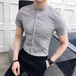 Wholesale black long sleeve short fitted dress resale online – 2020 Men cotton Shirt Mandarin Collar Long Sleeved Classical Solid Shirt Men Slim Fit Dress Business Tops