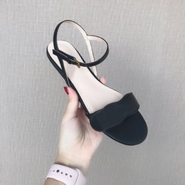 Wholesale Hot Sale Luxury Sandals Brand Women Leather Mid heel Sandal Adjustable Ankle Strap cm High Chunky Sandal Shoes Size Female shoe