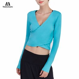 $enCountryForm.capitalKeyWord Australia - Matymats Yoga Shirt High Quality Reversible Design Women Long Sleeves Deep V-neck Cross Wrap Crop Tops Lightweight Fitness Wear