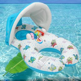 $enCountryForm.capitalKeyWord Australia - 5ps lot Inflatable Baby Pool Float Neck Ring With Subshade Mother Children Swim Circle Inflatable Safety Swimming Ring Float Seat