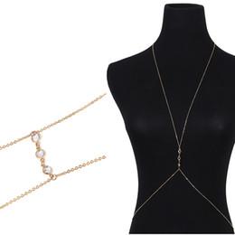 Body Chains Back UK - Fashion Gold Silver Sexy Bikini Crossover Waist Belly Harness Body Chain Necklace Fine Wedding Back Dress Body Jewelry Access