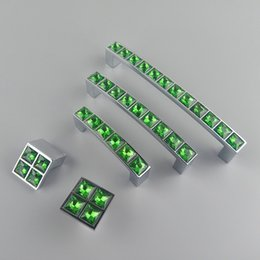 Crystal Pull Cabinet Handles Australia - New Crystal Glass Series Diamond Dark Green Furniture Handle Door Dresser Drawer Wardrobe Kitchen Cabinets Cupboard Dresser Pull Door Knobs