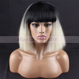 $enCountryForm.capitalKeyWord Australia - Women's Cosplay Wigs Short BOB Kinky Straight Hair Full Bangs 2 Tones Synthetic