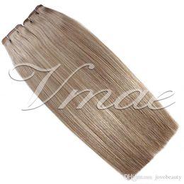 Venta al por mayor de Cinta hebilla brasileña Extensiones de cabello individual 100g Drawn 20Pcs color natural # 613 Stright sin procesar virginal del cabello humano de la trama del pelo Vmae