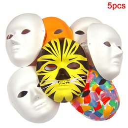 $enCountryForm.capitalKeyWord Australia - 5Pcs White Adult Party DIY Hand-painted Biodegradable Cosplay Face Mask Men Women Fancy Dress Costume Plain Unpainted Blank