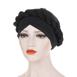 black red hair dye UK - Muslim Womens Twist Silky Bandana Turban Hat Cancer Chemo Beanies Hair Cover Headwear Headwrap Hair Loss Accessories