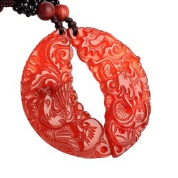 $enCountryForm.capitalKeyWord UK - Fine Jewelry Natural Red Pendant Agate Dragon Phoenix Men Fashion Ma Nao Necklace Pendant Free Shipping