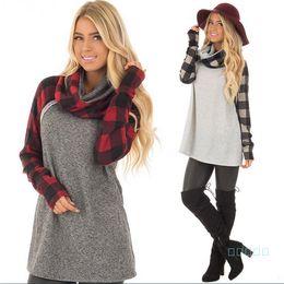 Wholesale heap t shirts online – design 5XL Women Plaid Panel Raglan T shirts Long Sleeve Pullover T shirt Fashion Plus Size Heaps Collar Sweatshirt Spring Autumn Shirt Tops sale