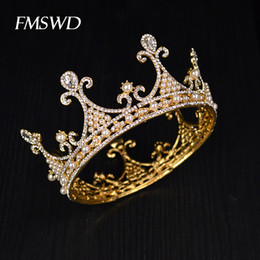 royal hair color 2019 - New Gold Color Luxury Crystal Pearl Tiara Large Royal Crown For Wedding Hair Accessories Bridal Party Porm Hair Jewelry