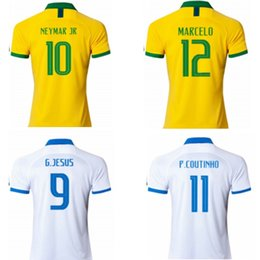 0b285d3aca1 2019 Copa America soccer jerseys NEYMAR JR FIRMINO G.JESUS WILLIAN FRED  Brasil National Teams football shirts uniforms