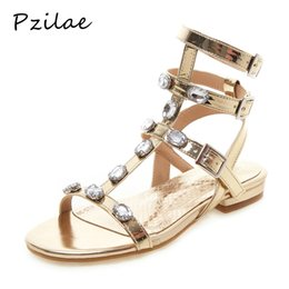 Ladies Flat Silver Shoes NZ - Pzilae gladiator sandals women sexy flat ankle strap sandals ladies evening party shoes woman summer women shoes size 46