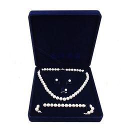 Velvet Jewelry Set Box UK - 19x19x4cm velvet jewelry set box long pearl necklace box gift box display high quality blue color