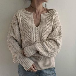 Korean style sweater online shopping - Bohoartist Fall Winter Women s Korean Style Pullover Sweaters Leisure Loose Oversize Plain Sweaters V neck Street Tops