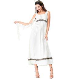 Adult Long Dresses UK - Fashion Sexy Women Men Halloween Party Athena Costume Adult Greek Goddess Cosplay Roman Princess Costumes Arabic Couple White Long Dress