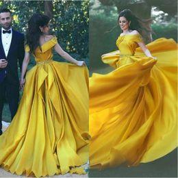 Prom dresses blue diamonds online shopping - Elegant Yellow Evening Formal Dresses Off Shoulder Prom Dress Diamond Sash Evening Dresses Crystal Beaded robes de soirée