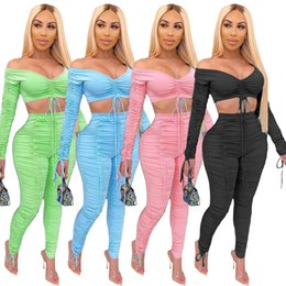 Wholesale tube top pants for sale – designer Women Two Piece Summer Outfits Pants Set Stacked Leggings Pants Sexy Long Sleeve Stacked Tube Top Casual Female Clothing