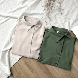 Light Green Color Shirts Australia - NEW KOREAN SHIRT SOLID COLOR LIGHT LUXURY SKEW COLLAR DESIGN LANTERN SLEEVE NEW PRODUCTS IN SPRING AND SUMMER LOOSE WOMAN GIRL SIMPLE URBAN