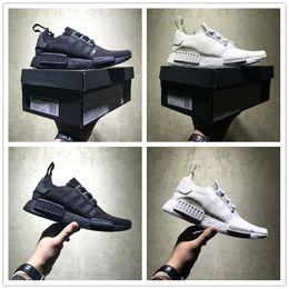 2515539d0d20 Japanese flat shoes online shopping - Japanese R1 Primeknit Triple Black  White Running Shoes Human Race