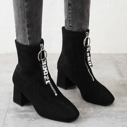 Discount tube canvas - Letter Boots Women Fashion Leisure Bounce Round Toe Chunky Heels Middle Tube Boots 2019 Winter Women Shoes zapatos de mu