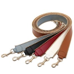 $enCountryForm.capitalKeyWord UK - Fashion Brand 105cm Genuine Leather Bag Strap for Handbags Fashion rivets Wide Shoulder Strap for Bag Handbag Accessories belt