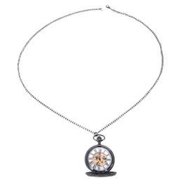 $enCountryForm.capitalKeyWord Australia - Retro Black Flower Hollow Mechanical Pocket Watch For Mens Steel Steampunk Unique Womens Mens Fob Chain Pocket Watches