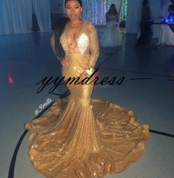 $enCountryForm.capitalKeyWord Australia - Sparkle Gold Sequined Long Prom Dresses 2019 Sexy Deep V Neck Mermaid Evening Gowns Special Occasion Dress
