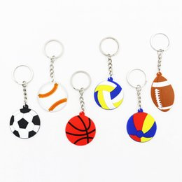 Wholesale 6Styles Soccerball keyring keychain sport basketball volleyball key holder Boys Girls Cartoon football kids party Gift favor pendant FFA2279