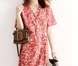 japanese flowers print UK - Japanese Light extravagant 2020 summer new style women's clothing, Hepburn, salt, sweet, broken flowers, V collar, short sleeves, high waist