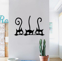 Japanese Style Home Decor Australia   Lovely 3 Black Cute Cats Wall Sticker  Moder Cat Wall